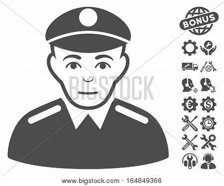 Soldier icon with bonus service pictograms. Vector illustration style is flat iconic gray symbols on white background.