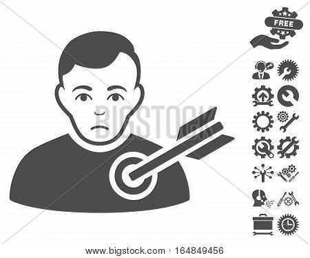 Target Man icon with bonus setup tools graphic icons. Vector illustration style is flat iconic gray symbols on white background.