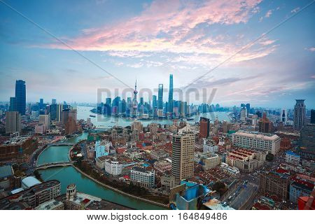 Aerial Photography At Shanghai Bund Skyline Of Sunrise