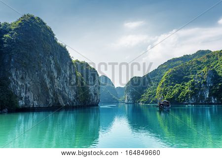 Beautiful View Of Lagoon In The Ha Long Bay, Vietnam