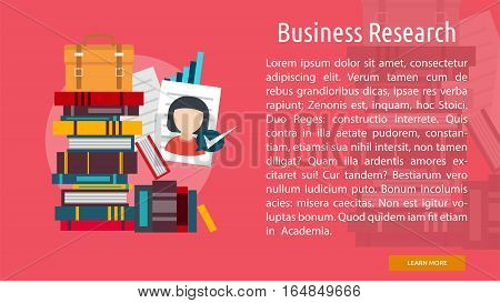 Business Research Conceptual Banner | Great flat illustration concept icon and use for business, people, marketing, working, idea, event and much more.