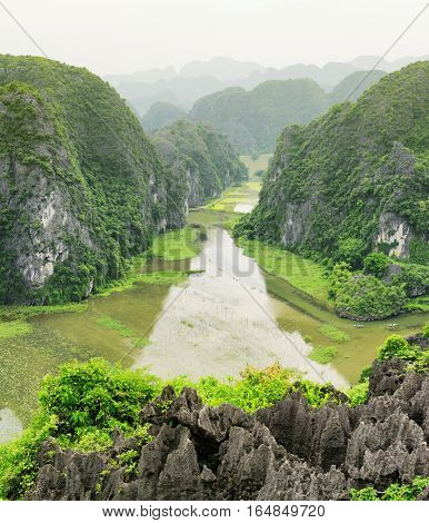 Top View Of The Ngo Dong River, Ninh Binh Province, Vietnam