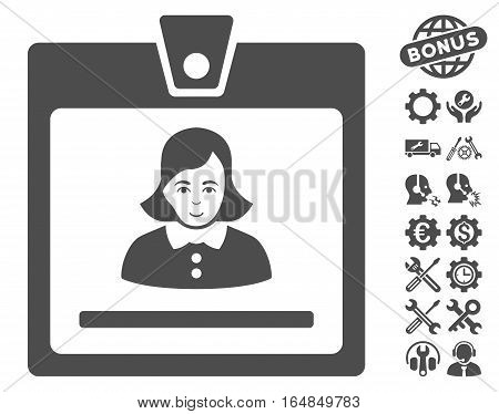 Woman Badge pictograph with bonus service icon set. Vector illustration style is flat iconic gray symbols on white background.