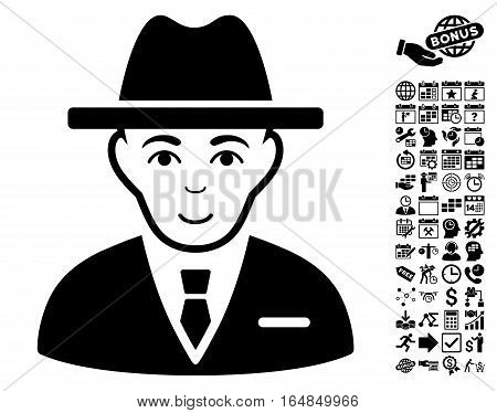 Agent icon with bonus business time management and calendar clip art. Vector illustration style is flat iconic symbols black color white background.