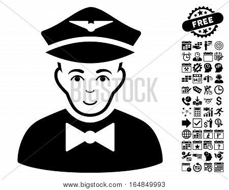 Airline Steward icon with bonus business time management and calendar pictograms. Vector illustration style is flat iconic symbols black color white background.