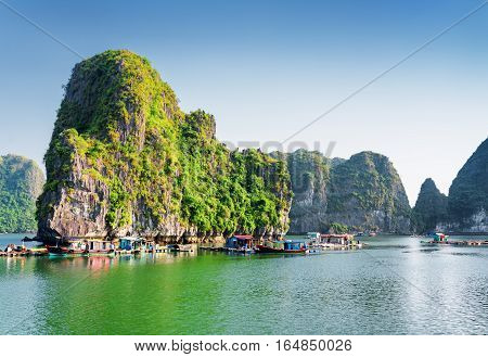 Floating Fishing Village In The Ha Long Bay, Vietnam