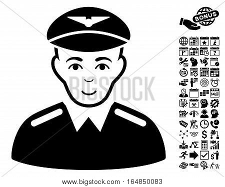 Aviator icon with bonus business time management and calendar images. Vector illustration style is flat iconic symbols black color white background.