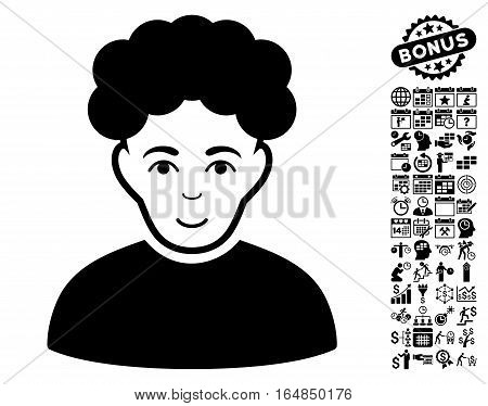 Brunet Man pictograph with bonus business time management and calendar icon set. Vector illustration style is flat iconic symbols black color white background.