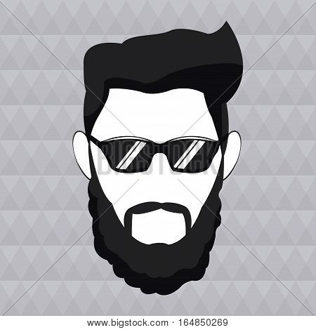 hipster man beard hair sunglasses masculine vector illustration eps 10