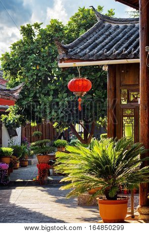 Scenic View Of Traditional Chinese Wooden House, Lijiang, China