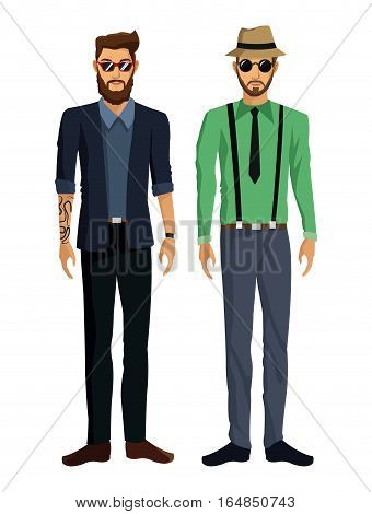 two men bearded look hat sungalsses tattoo vector illustration eps 10