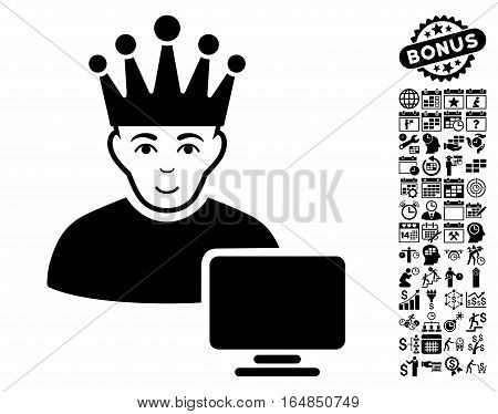 Computer Moderator pictograph with bonus business time management and calendar design elements. Vector illustration style is flat iconic symbols black color white background.