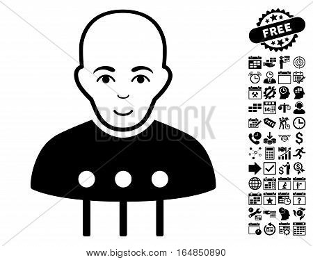 Cyborg Interface icon with bonus business time management and calendar icon set. Vector illustration style is flat iconic symbols black color white background.