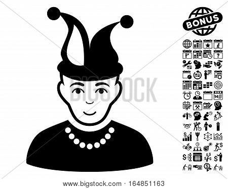 Fool icon with bonus business time management and calendar pictograph collection. Vector illustration style is flat iconic symbols black color white background.
