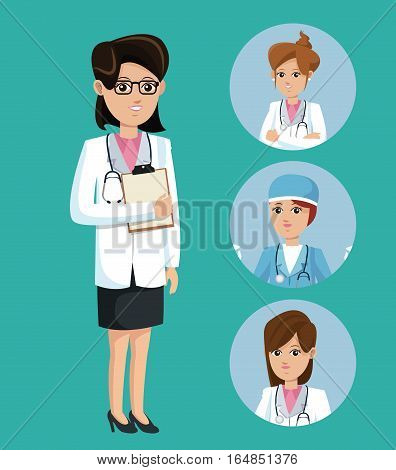 doctor woman medical clipboard stethoscope set staff vector illsutration eps 10