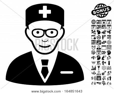 Head Physician icon with bonus business time management and calendar pictograms. Vector illustration style is flat iconic symbols black color white background.
