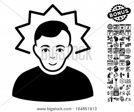 Inventor pictograph with bonus business time management and calendar clip art. Vector illustration style is flat iconic symbols black color white background.