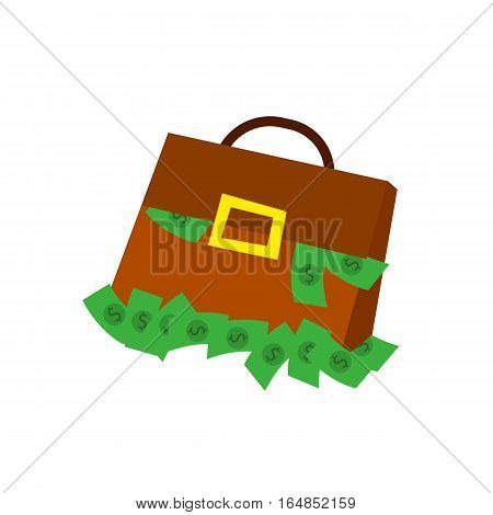 Suitcase money icon in flat style, suitcase with money concept., business illustration. Suitcase full of money.