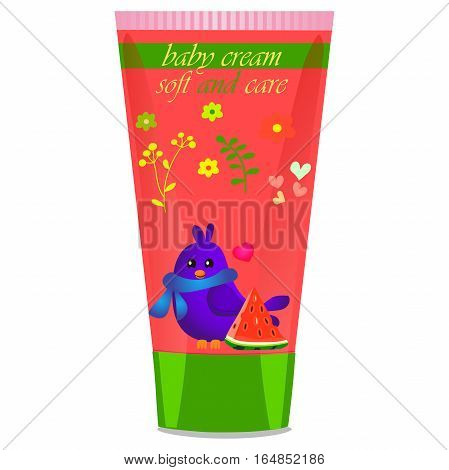 High quality original trendy vector Baby cream tube with kids design and bird, watermelon illustration