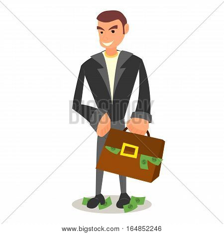 Cheerful businessman or manager holds a briefcase of money, offers a bribe
