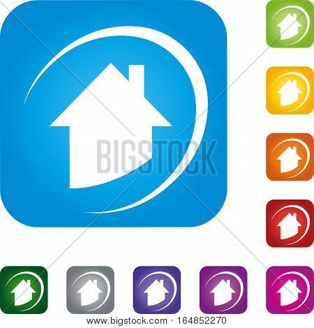 House in the rectangle, house, real estate and real estate agent logo