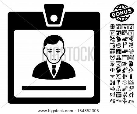 Manager Badge icon with bonus business time management and calendar pictograph collection. Vector illustration style is flat iconic symbols black color white background.