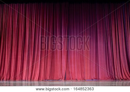 Red Curtains And Stage.