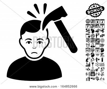 Murder With Hammer pictograph with bonus business time management and calendar images. Vector illustration style is flat iconic symbols black color white background.