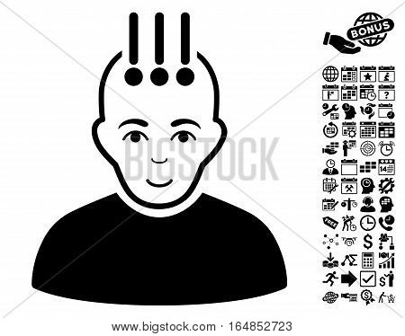 Neural Interface icon with bonus business time management and calendar pictograph collection. Vector illustration style is flat iconic symbols black color white background.