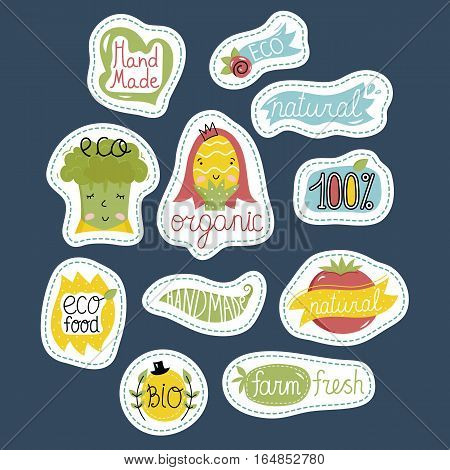 Eco and bio food labels set isolated on blue background. Natural products stickers with vegetables cartoon characters for organic shop, vegan cafe, restaurant menu, eco bar. Healthy farm food. Organic food logo. Farm food icon.