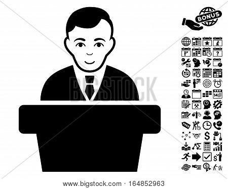 Politician icon with bonus business time management and calendar clip art. Vector illustration style is flat iconic symbols black color white background.
