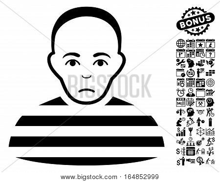 Prisoner pictograph with bonus business time management and calendar pictograph collection. Vector illustration style is flat iconic symbols black color white background.