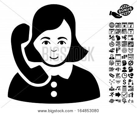 Receptionist icon with bonus business time management and calendar images. Vector illustration style is flat iconic symbols black color white background.
