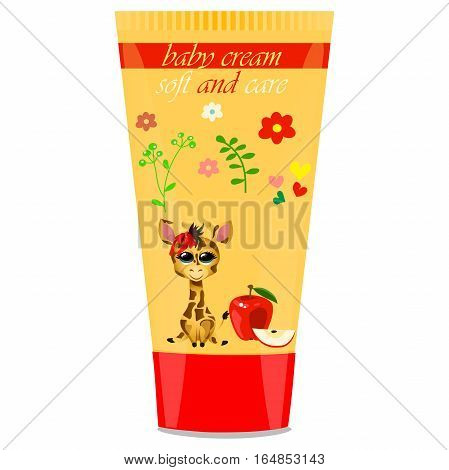 High quality original trendy vector Baby cream tube with kids design and giraffe, apple illustration