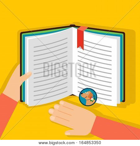 Reading book about dogs, top view on the yellow background. Vector illustration