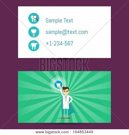Professional business card template for dentists with cartoon man in medical uniform on striped green background, vector illustration. Dental office or clinic visiting card. Dental care concept