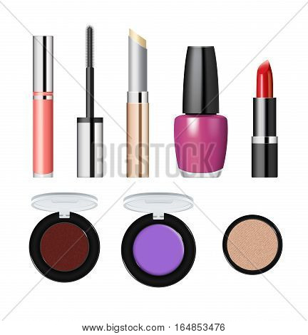 Realistic makeup cosmetics set isolated on white background vector illustration. Lipstick, nail polish, mascara, eye shadow, foundation. Decorative facial cosmetics products, beauty fashion makeup. Cosmetics product concept design