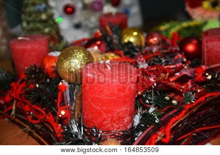 Red Christmas candle and decoration ready for celebration