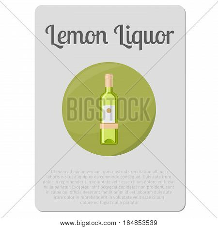 Lemon liquor alcohol. Sticker with bottle and description vector illustration