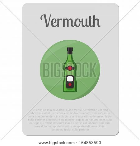 Vermouth alcohol. Sticker with bottle and description vector illustration