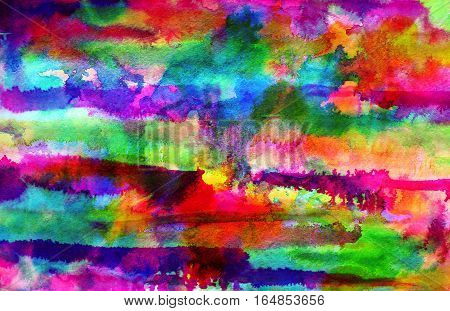 Abstract blue rainbow ink painting on grunge paper texture. Hand painted watercolor background. Watercolor wash. Illustration stain and spot. Bright color. Unusual creativity art. Pattern