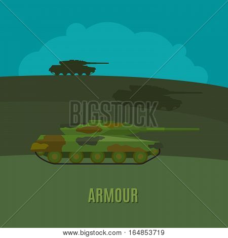 Armed forces, tanks on navy green background with text armour vector illustration