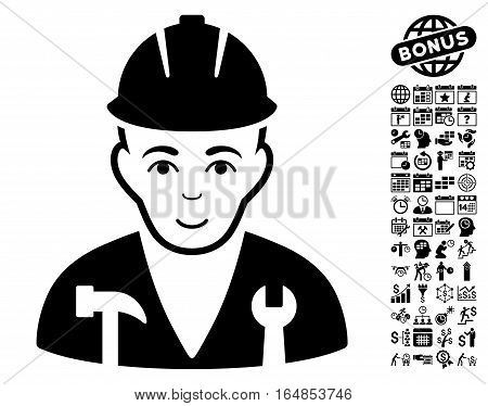 Serviceman pictograph with bonus business time management and calendar images. Vector illustration style is flat iconic symbols black color white background.
