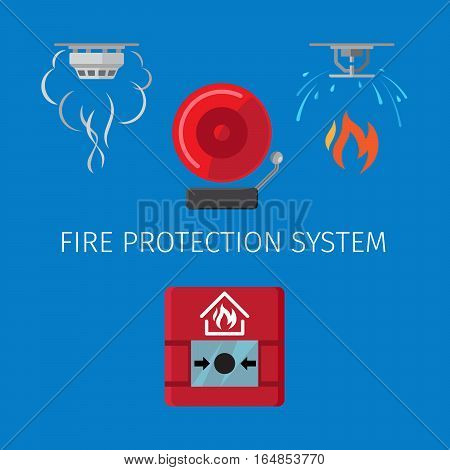 Fire protection and alarm system vector illustration on blue background