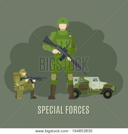 Military and army special forces characters vector illustration