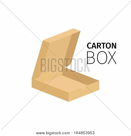 Carton box pack for pizza.Vector flat item isolated on white