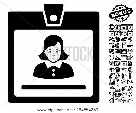 Woman Badge pictograph with bonus business time management and calendar pictograph collection. Vector illustration style is flat iconic symbols black color white background.