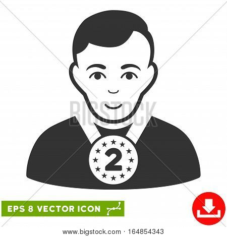 Vector 2nd Prizer Sportsman EPS vector icon. Illustration style is flat iconic gray symbol on a transparent background.