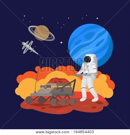 Astronaut in space, soil experiments, space archaeology vector illustration