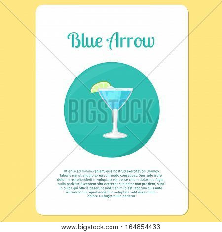 Blue Arrow cocktail menu item or sticker. Party drink in circle icon vector illustration